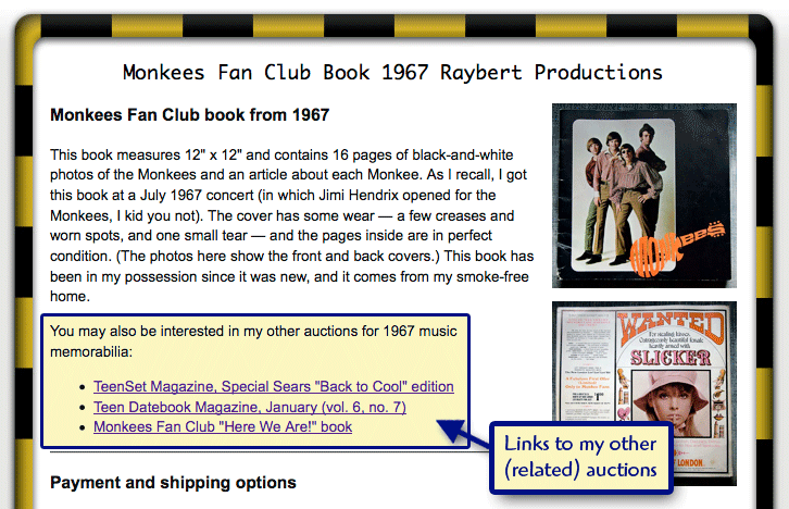 Help Ebay Buyers Find Your Other Auctions