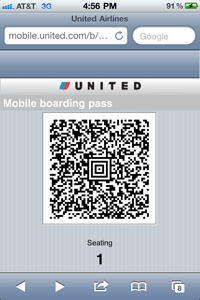 United Airlines mobile boarding pass
